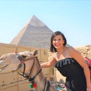 pyramids trips with camle solo girl